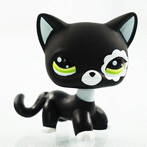 dreamsLE_Pet toy store #2249 Mignon Figure Jouet Rare Chat Noir Yeux Verts Fleur Patch Enfants Pet Shop LPS Für Kinder Mädchen Jungen (Blume Auge Schwarze Katze)