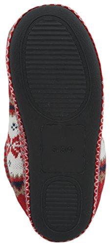 Pantofole donna peruviano foderato in pile lavorato a maglia Bootie Slipper Red