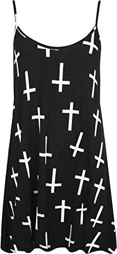 WearAll - Damen Kreuz Print ärmel Flared Schwingen Vest Strappy Top - Schwarz Weiß - 44-46