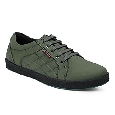 Red Chief Men's Olive/Green Leather Boat Shoes - 10 UK/India (44 EU)(RC3483 014)