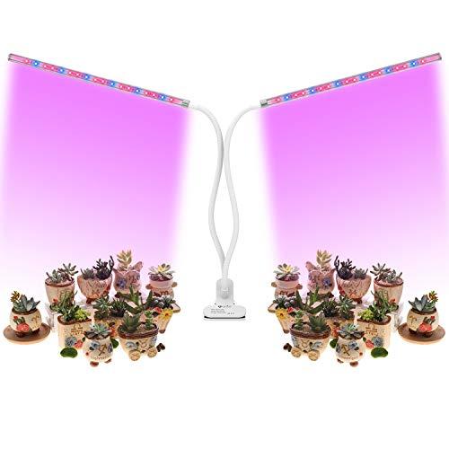 OxyLED LED Pflanzenlampe,Doppelkopf Pflanzenlampe mit Zeitfunktion,36 LED Pflanzenlichter,5 Stufen Helligkeit,360°Einstellbar für Zimmerpflanzen, Sukkulenten, Hydrokultur, Gemüse, Gewächshaus