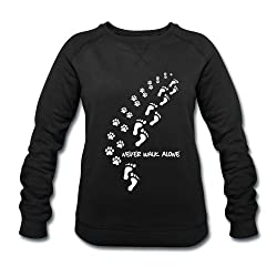 Spreadshirt Never Walk Alone Cute Dog Owner Quote Women's Organic Sweatshirt by Stanley & Stella