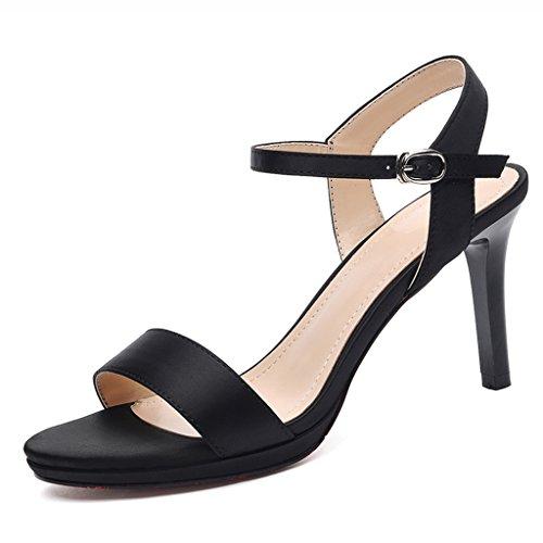 Chaussures femme HWF Sandales d'été Femme Sexy Noir Simple Talons Aiguilles Femmes Chaussures