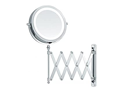 Kosmetikspiegel LED-Beleuchtung batteriebetrieben - Scherenspiegel mit 5-fach Vergrößerung Wandspiegel ausziehbar