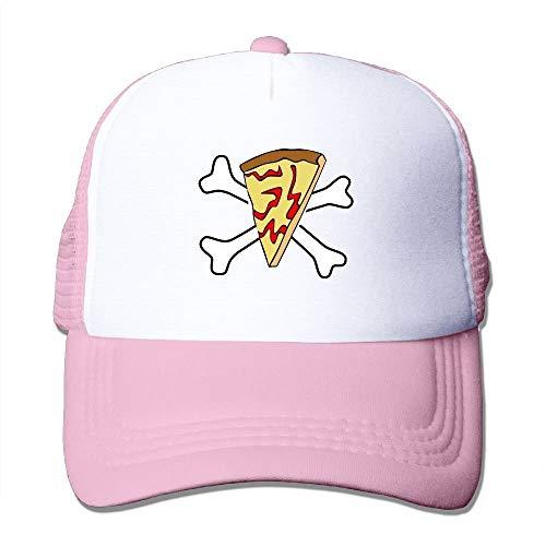 Errterfte Pirate Pizza Skull and Crossbones Mesh Women Surf Trucker Baseball Hat Pink Personalized Hat Comfortable Adjustable