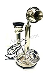 Akhandstore Retro Silver Finish Landline Table Brass Telephone