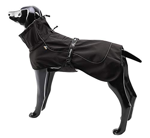 BLACKDOGGY Hundejacken für große Hunde Verstellbarer Kordelzug, Hundeweste Wintermantel Warme, ultraleichte, atmungsaktive 100{cf0e95bac66351b439feb1a3385eb131c941443e1f1f58b22ecfc3a2ad09f4dc} wasserdichte Regenjacke Schwarz Größe XL