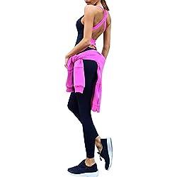 Femme Legging de Sport Combinaison pour Fitness Jogging Yoga Rose