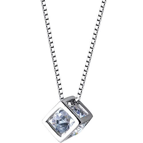 LLCF jewelry★925 Silber Halskette Liebe Zauberwürfel Kette Frau Quadrat Anhänger Halskette Schlüsselbein Kette Silberschmuck Geschenk Schmuck 1 Stück Silber