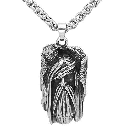 GuoShuang Halskette mit Amulett aus Edelstahl mit Odin Gesicht Wolf Geri und Freki Amulett mit Valknut Rune, Geschenkbeutel -