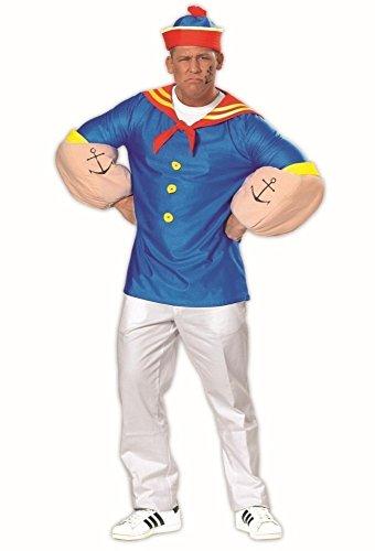KARNEVALS-GIGANT Matrosenkostüm blau-rot-gelb für Herren | Größe 54 | 2-teiliges Marine Kostüm für Karneval | Kapitän Faschingskostüm für Männer