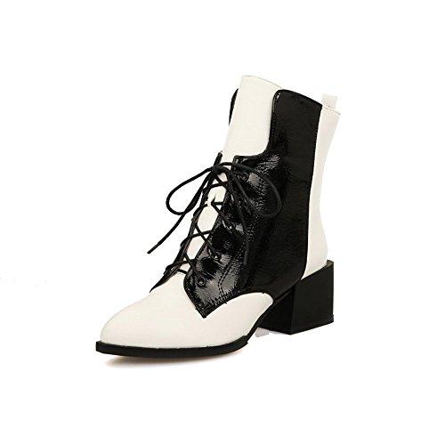 VogueZone009 Donna Tacco Medio Bassa Altezza Colore Assortito Allacciare Stivali con Nodo Bianco