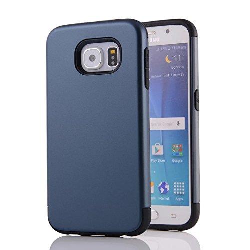 YHUISEN Galaxy S6 Case, 2 In 1 PC + TPU Dual Layer Rüstung Hybrid Schutz Schock Absorption Hard Back Cover Case für Samsung Galaxy S6 ( Color : Rose Gold ) Navy Blue