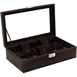 Friedrich Lederwaren Watch Box for 10 Watches Brown/Black