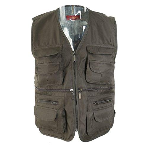 Flameer gilet giacche di sport outdoor, multi-tasche caccia gilet, gilet da pesca, gilet sportivo, giubbotti confortevole, giubbotti, giubbino da pesca - militare verde, 2xl