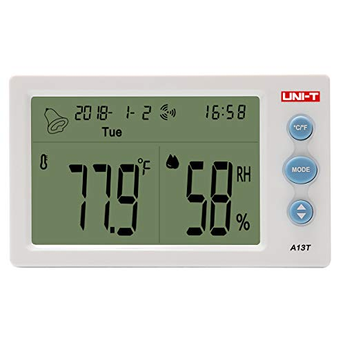 UNI-T Indoor Outdoor Thermo-Hygrometer, A13T Wireless LED Digital Hygrometer mit Temperatur/Feuchte/Kalender/Wecker
