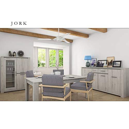 AZURA HOME DESIGN Esszimmer Komplettset Jork, Grau gekalkt - Vitrine: inkl.