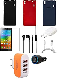 NIROSHA Tempered Glass Screen Guard Cover Case Charger Headphone for Lenovo K3 Note - Combo