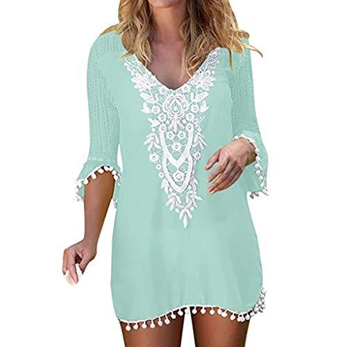 Lace Trim Tank Kleid (LEXUPE Damen Dress, Frauen Pom Pom Trim Quaste Lace Crochet Bademode Strand vertuschen(Grün,Small))