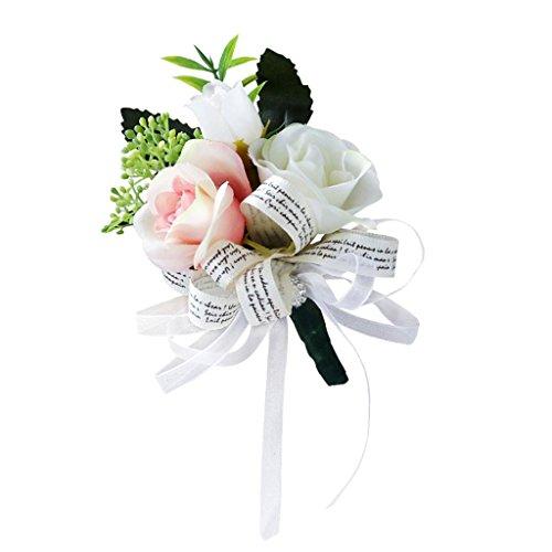 ker Hochzeit Anstecknadel Bräutigam Zubehör - Rosa Weiß, 12 x 8 x 5 cm (Ansteckblume Hochzeit)
