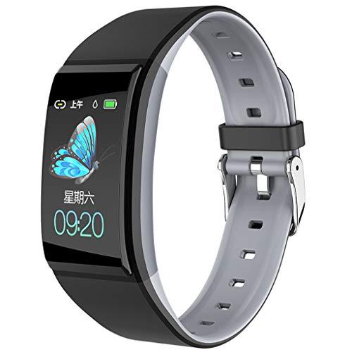 JiaMeng Smartwatch, Orologio Intelligente Orologio Intelligente Per Monitoraggio Della Pressione Arteriosa Della Frequenza Cardiaca (Grigio)