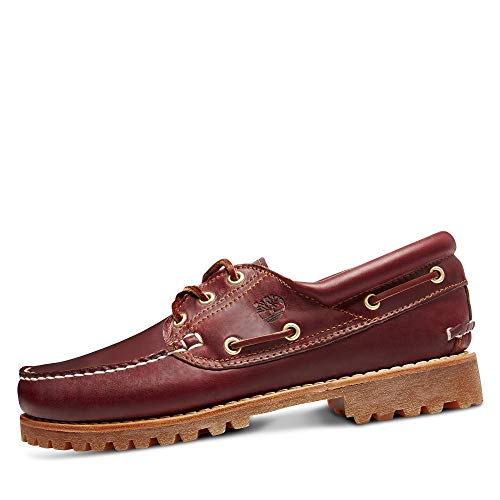 Timberland Men's Authentics 3 Eye Classic 50009 Leather Deck Shoe Burgundy-Burgundy-8.5 Size 8.5