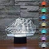 3D Illusion Velero Lámpara luces de la noche ajustable 7 colores LED Creative Interruptor táctil estéreo visual atmósfera mesa regalo para Navidad