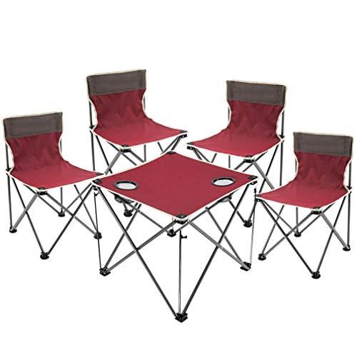 SZP Outdoor-Tisch und Stuhl-Set von Fünf, Klapptisch und Stuhl-Streitstuhl-Set, komfortabel und langlebig, geeignet für Indoor-Camping-Dinner Fischen,Red