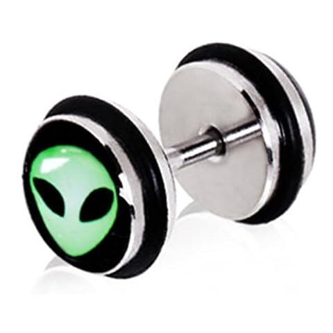 Acier–Faux plug–Alien (Faux plug Tunnel Cheater piercingschmuck Boucles d'oreilles pour homme et