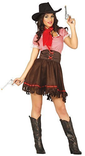 Damen Sexy Cowgirl Cutie Rodeo West Wilder Westen Cowboys und Indianer Kostüm Kleid Outfit - Braun, 36-38 (West Wild Damen Für Outfits)