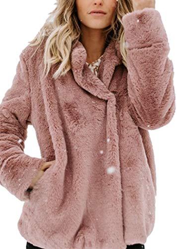 Angashion Plüschmantel Damen lose Sweatshirt mit Kapuze Mantel Langärmelige Einfarbige Strickjacke Jacke mit Taschen Warmen Winter Rosa M