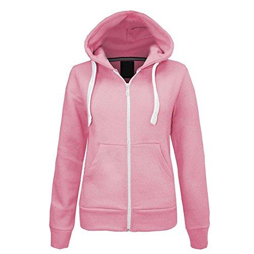 Made By PURL® New Womens Ladies Plain Casual Hoodie Fleece Pockets Sweatshirt Long Sleeve Hooded Coat Hoodys Zip Jacket Coat Plus Size UK 8-22