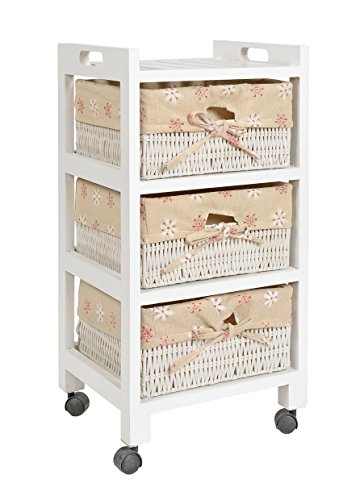 Roll-aus-regal (ts-ideen Kiefer Roll Kommode Bad Flur Küchen Regal Schrank Nachttisch in Weiß Kunststoff Körbe 61 x 30 cm)
