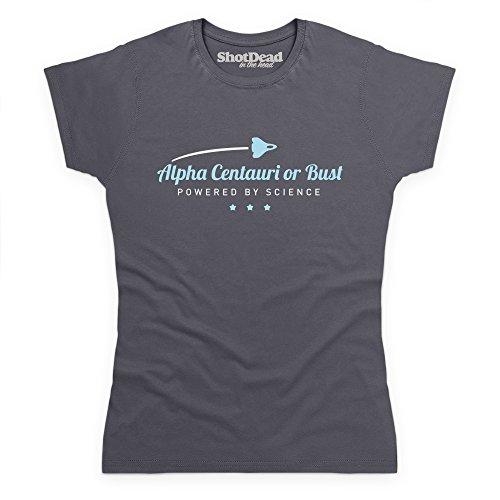 Alpha Centauri Or Bust Space Travel Science T-Shirt, Damen Anthrazit