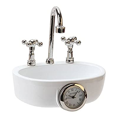 Miniature Sink Wash Basin Novelty Quartz Movement Collectors Clock 9602 produced by W M Widdop - quick delivery from UK.