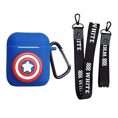 on Silicone The Avengers Case Protective Holder Bag for AirPods Apple Headset Accessories(Captain America1) ()