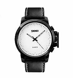 Skmei New Bold Design Analog Watch -1208 Black Genuine Leather