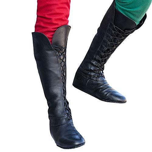 Pxmoda Herren Timberland Boots Lace up Point Toe Mittelalter Kostüm Kunstleder Plain Flache Schuhe (42, ()