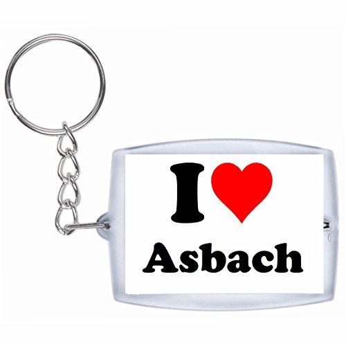 """Preisvergleich Produktbild Exklusive Geschenkidee: Schlüsselanhänger """"I Love Asbach"""" in Weiss, eine tolle Geschenkidee die von Herzen kommt - Rucksackanhänger- Weihnachts Geschenktipp"""