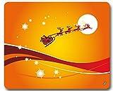 1art1 92341 Weihnachten - der Weihnachtsmann und Sein Rentier Schlitten Fliegen Über Den Mond Mauspad 23 x 19 cm