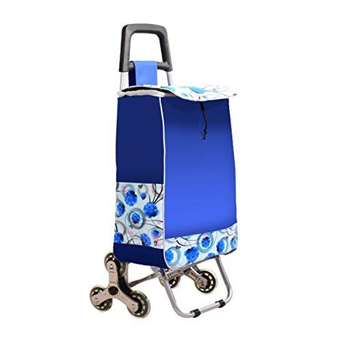 BYCDD Einkaufstrolleys mit Treppensteigernden Dreirädern, Schlauch Klappbar Einkaufswagen mit ausziehbarem Griff Einkaufstasche Aufbewahrung Zu Erleichtern,Blue_80 Pounds Capacity