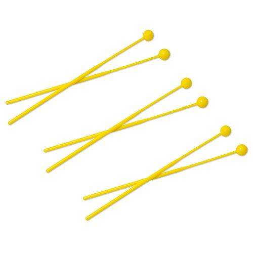 3 paia di bacchette con testa plastica per Glockenspiel