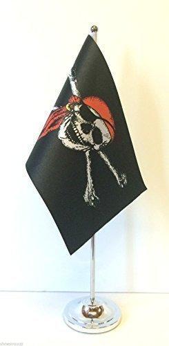 Pirate & Skull bones in Bandana bandiera satinato con Base cromata-Scrivania-Set di bandierine