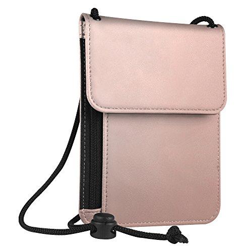 Fintie Pasaporte Funda Cartera Portadocumentos de cuello - Cuero PU Porta Pasaporte de con Protección RFID, Oro rosa