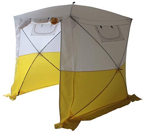 Goutime gazebo,2×2m padiglione da impermeabile pieghevole con 4 pareti laterali,tenda pop-up multifunzione (bianco e giallo)