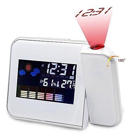 Mode créative LED horloge électronique prévisions météo projection horloge snooze réveil écran , white