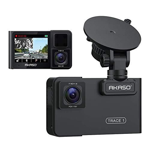 Dashcam Full HD 1080P, AKASO Autokamera 2 Zoll IPS Bildschirm Video Recorder mit 170° Weitwinkelobjektiv, G-Sensor, Loop-Aufnahme, Parkmonitor, Bewegungserkennung, WDR, Mikrofon, Aufnahme