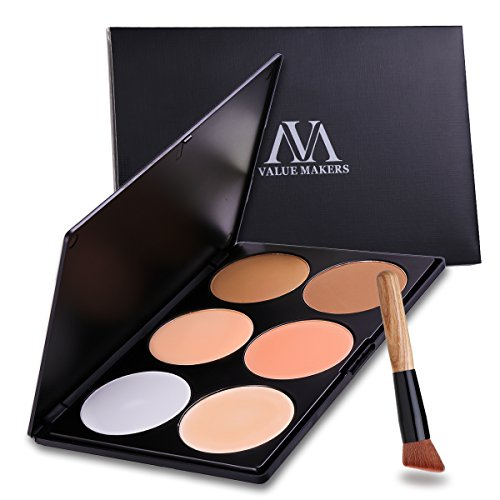VALUE MAKERS 6 Teintes Palette de Maquillage - Highlight Kit Cosmétique Contours et Visage + 1 Pcs Pinceau De Maquillage