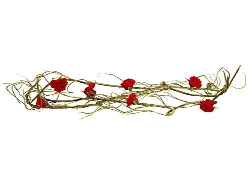 Künstliche Rosengirlande DANIKA mit 7 Rosen, rot, 140 cm - wetterfest - Kunstgirlande - artplants