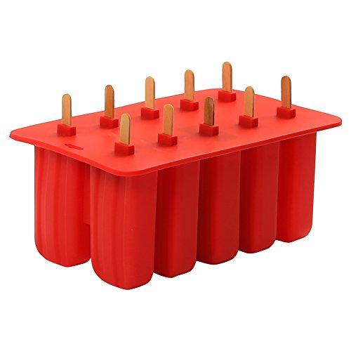 LEMAIKJ Silikon Stieleisformen mit 10 Eisformen und 10X Holzstielen,Eis am Stiel Eiscreme Formen Ice Pop Maker,ohne BPA